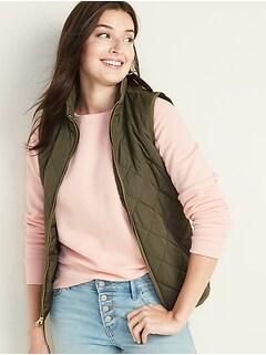Lightweight Diamond-Quilted Zip-Front Vest for Women