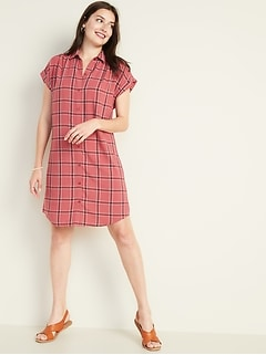 Plaid Shirred Shirt Dress for Women