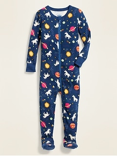 Unicorn-Print Footie Pajama One-Piece for Toddler & Baby