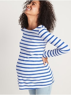 Maternity Mariner-Stripe Boat-Neck Tunic