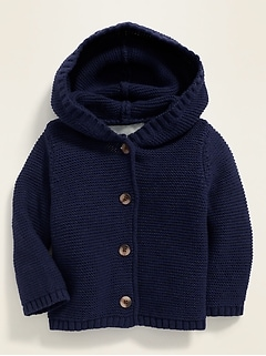 Relaxed Button-Front Hooded Sweater for Baby