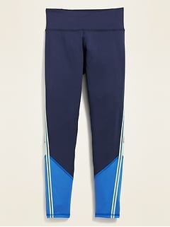 Mid-Rise Go-Dry Color-Blocked Leggings for Girls