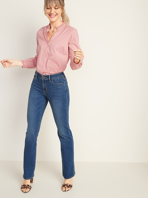 Image number 3 showing, Mid-Rise Dark-Wash Kicker Boot-Cut Jeans for Women