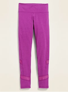 Mid-Rise Go-Dry Pieced-Mesh Leggings for Girls