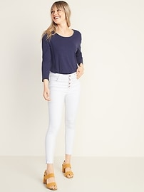 Slub-Knit 3/4-Sleeve Twist-Back Top for Women