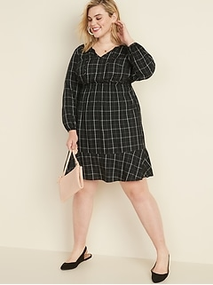 Plaid Waist-Defined Tie-Neck Plus-Size Dress