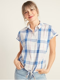 Patterned Tie-Hem Shirt for Women