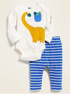 Dinosaur-Graphic Bodysuit & Striped Knit Pants Set for Baby