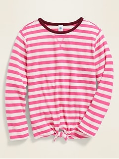 Striped Plush-Knit Tie-Hem Top for Girls