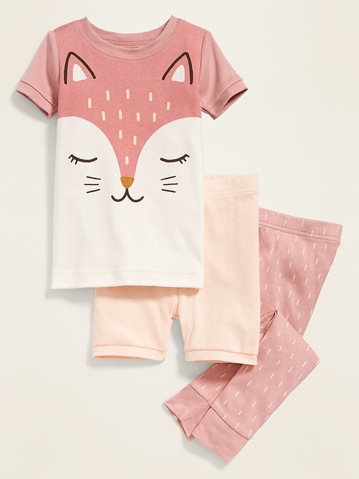 3-Piece Fox-Graphic Pajama Set for Toddler & Baby