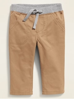 Rib-Waist Pull-On Twill Utility Pants for Baby