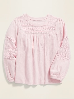 Lace Balloon-Sleeve Jersey Top for Girls