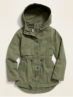 Twill Hooded Field Jacket for Girls