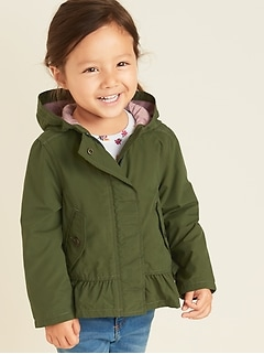 Hooded Peplum-Hem Jacket for Toddler Girls