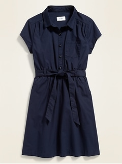 Uniform Tie-Belt Shirt Dress for Girls