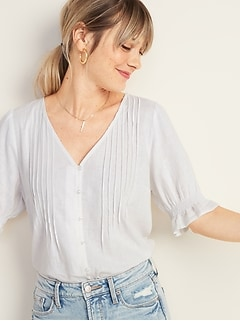 Pintucked V-Neck Button-Front Linen-Blend Blouse for Women