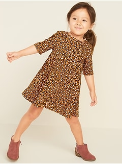 Printed Swing Dress for Toddler Girls