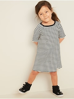 Rib-Knit Elbow-Sleeve Swing Dress for Toddler Girls