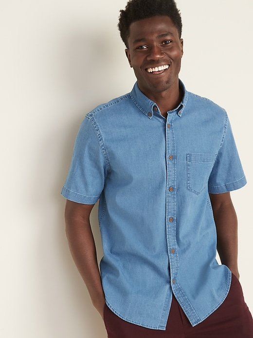 Regular-Fit Built-In Flex Chambray Shirt for Men