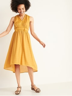 Waist-Defined Ruffled Tie-Neck Midi for Women