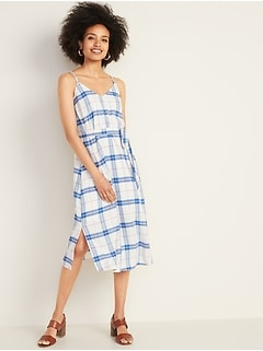Plaid Tie-Belt Cami Midi for Women