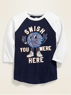 Graphic Color-Blocked 3/4-Sleeve Tee for Boys