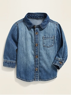 Long-Sleeve Denim Shirt for Baby