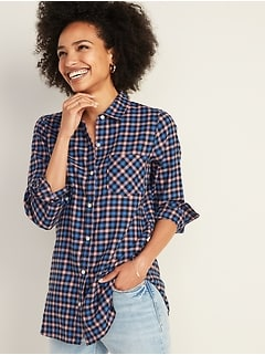Patterned Twill Tunic Shirt for Women