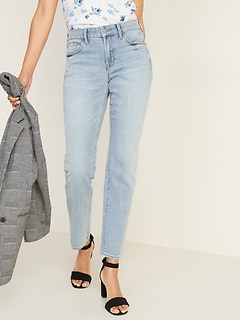 Mid-Rise Light-Wash Power Slim Straight Jeans for Women