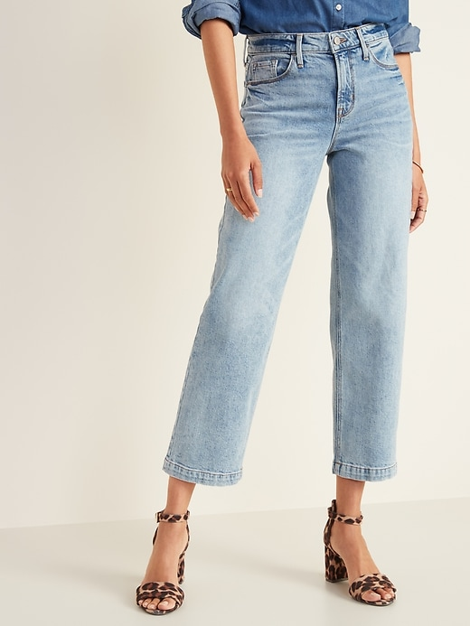 High Waisted Light Stone Washed Slim Wide Leg Jeans For Women by Old Navy