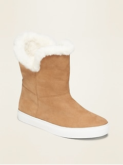 Faux-Fur Lined Faux-Suede Sneaker Boots for Girls