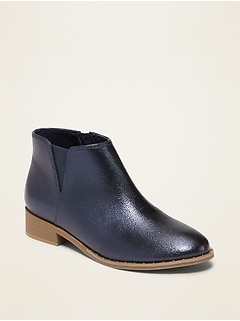 Metallic Faux-Leather Chelsea Boots for Girls
