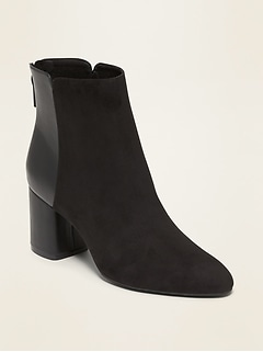 Faux-Suede/Faux-Leather Block-Heel Boots for Women