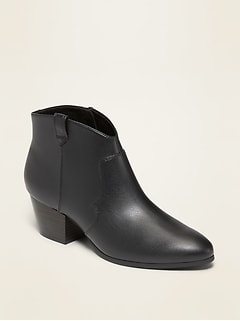 Faux-Leather Western Booties for Women