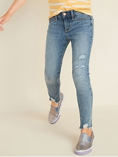 Ballerina Built-In Tough Distressed Raw-Edge Jeggings for Girls