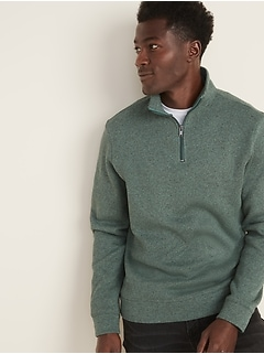 Mock-Neck 1/4-Zip Sweater-Fleece Pullover for Men