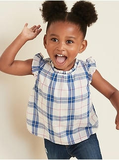 Plaid Ruffle-Neck Flutter-Sleeve Top for Toddler Girls