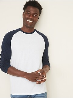Soft-Washed Color-Blocked Raglan-Sleeve Tee for Men