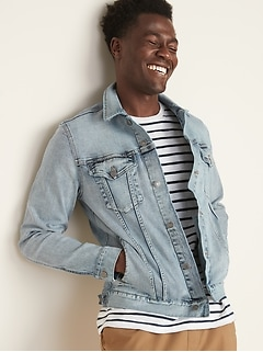 Built-In Flex Light-Wash Jean Jacket For Men