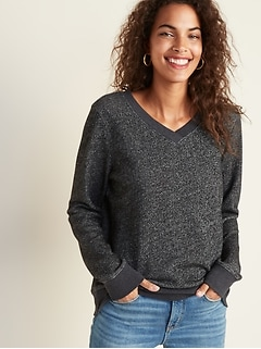 Relaxed V-Neck Sweatshirt for Women