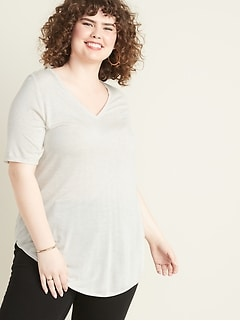 Luxe Metallic-Knit Plus-Size V-Neck Tunic Tee