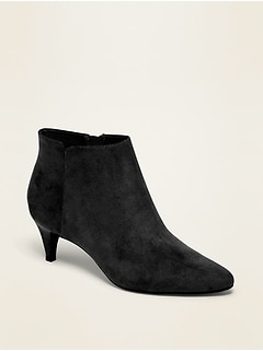 Faux-Suede Kitten-Heel Booties for Women