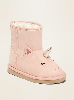 Faux-Suede Unicorn Critter Adoraboots for Toddler Girls