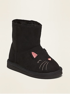 Faux-Suede Cat Critter Adoraboots for Toddler Girls