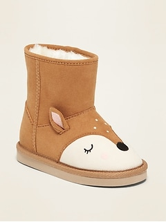 Faux-Suede Deer Critter Adoraboots for Toddler Girls