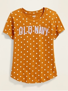 Logo-Graphic Patterned Tee for Girls