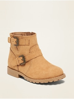 Faux-Suede Buckled-Strap Moto Boots for Toddler Girls