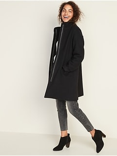 Soft-Brushed Funnel-Neck Coat for Women