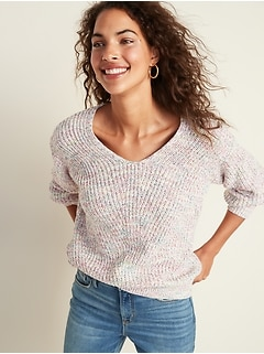 V-Neck Shaker-Stitch Sweater for Women