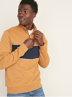Color-Blocked 1/4-Zip Mock-Neck Pullover for Men
